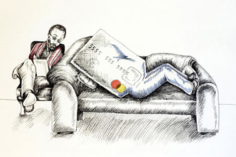 Psychologist counseling a credit card.