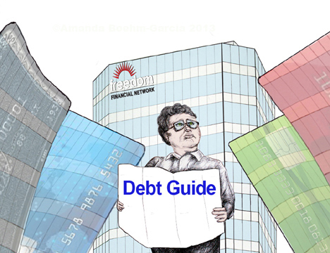 Illustration of a tourist looking a debt guide to navigate through buildings of credit cards.