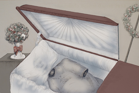 Illustration of an open casket with no body inside.