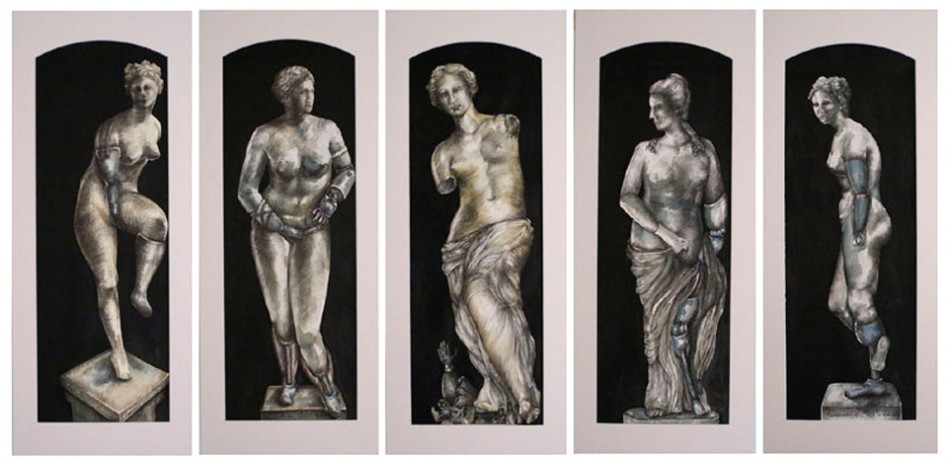 Drawing of five sculptures with prosthetics