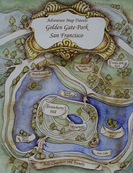 Cover design and illustration for Adventure Map Travels: Golden Gate Park.